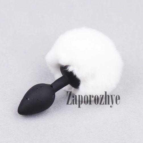 Анальная пробка кролик черная с белым помпоном Lovetoy