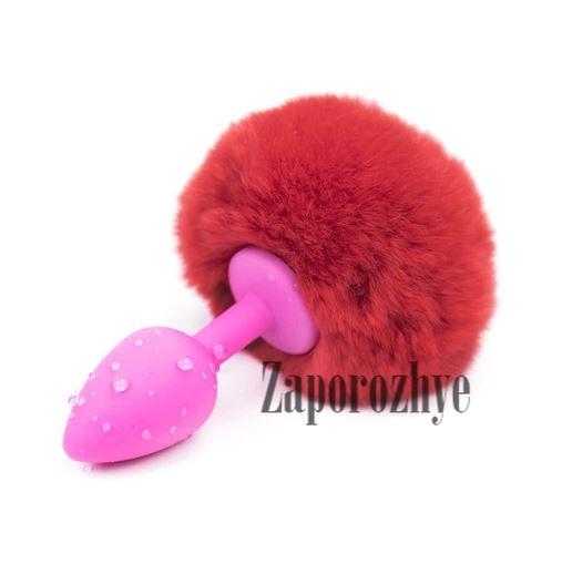 Анальная пробка розовая с помпоном силиконовая (S, red)