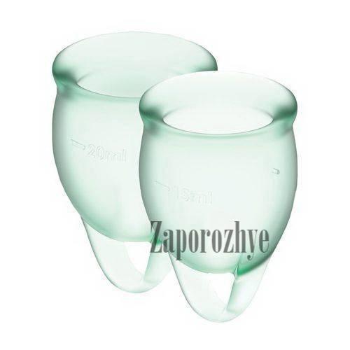 Набор менструальных чаш Satisfyer Feel Confident light green 15 и 20 мл